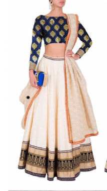 Off White Lehenga Contrast Blue Blouse